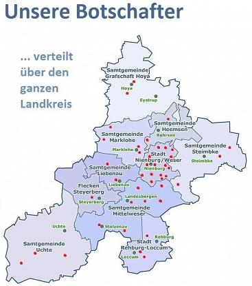 Landkreiskarte Botschafter©Landkreis Wirtschaftsförderung im Landkreis Nienburg/Weser GmbH