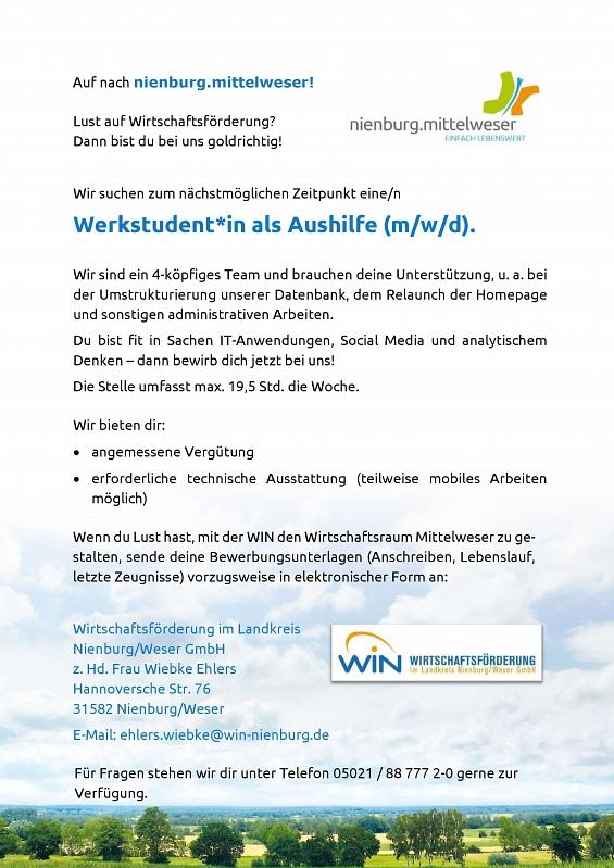 Werkstudent*in als Aushilfe 2021©Wirtschaftsförderung im Landkreis Nienburg/Weser GmbH